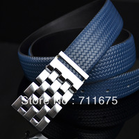 Q261 Hot sale All-match knitted strap male genuine leather belt Men fashion trend of male belt cowhide pocket