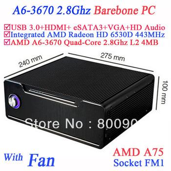 AMD A75 desktop computer AMD A6-3670 quad-core processor FM1 socket 32nm 2.8Ghz L2 4M Turbo Core AMD Radeon HD 6530D 443Mhz 100W