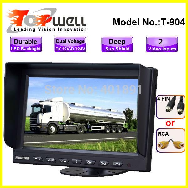 Free Shipping LED Backlight Brand New Digital Panel 9'' 800*480 High Definition DC12V~24V 2 AV IN Horse Trailer Monitor(China (Mainland))