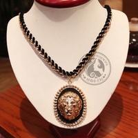 Celebrity Style Rihanna Jewelry heavy metal black lion head pendant portrait vintage rope chain necklace