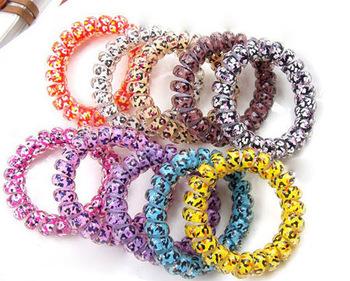 Multicolor Elastic Telephone Wire Hair Band Star Printing Candy Colorful Phone Line Headband Ponytail Holder Bracelet 200pcs/lot