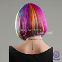Free shipping 2014 new design short rainbow color wig straight 100% kanekalon synthetic wig rainbow wig