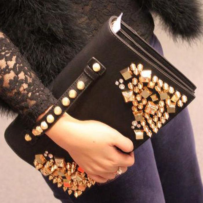 2015 rivet bag folding clutch spikes bag women messenger bag spike leather female bags(China (Mainland))