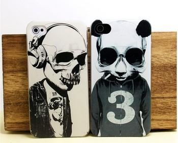 panda skull print shell rock skull hard case for iphone 4/4S/5 designer proctective case,drop shipping!