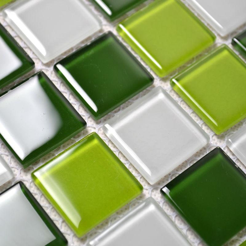 Groene Keuken Tegels : Crystal Glass Mosaic Tile Backsplash Green