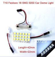 10 sets/lot T10 Festoon 2 Adapters 18 SMD 5050 white Light 12V LED size 42mm*22mm reading Panel Car interior Dome light