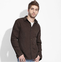 Free Shipping 2013 Autumn Casual Corduroy Long Sleeve Men Shirt, Khaki, Dark Blue and Brown