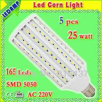 360 degree E27 165 SMD 5050 LED Corn Light Bulb Lamp 25w_ac 220v home led light bulbs warm / white free shipping 5 pcs/lot