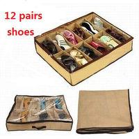 10pcs/set 12 Pairs brown Shoes Organizer Holder Fabric Bag Intake Under Bed Closet Storage Box Free shipping