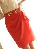 Chic  fashion Chiffon Female Elegant Bust skirt Knee-length Women Peplum Ruffles skirts slim hip summer