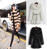 2013 Winter Hot-Selling Long Striped Faux Fur Coat Luxury Fox Fur Coats Women Designer Fashion Elegant Fur Overcoat H845