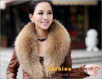 2013 Winter 100% real raccoon fur collar scarf high quality 80cm length