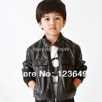 Free shipping 2014 children's child clothing male fashion PU child clothing jacket short zipper-up design