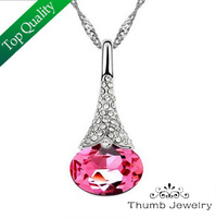 JS N011 Crystal Necklace White Gold Plated Austrian Crystal CZ Diamond Promotion Gifts Women Jewelry Valentine's Day Gifts