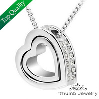 JS N010 Necklace 2014 White Gold Plated Jewellery Rhinestone Necklace For Women Christmas Day Gifts Pendant Necklace Silver