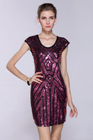 Free Shipping, women street european cut dress, sexy paillette gauze package hip dress, Purple LM6020