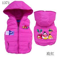 2015 new baby girls down vest cartoon waistcoats children vest 2Y-6Y retail 1pcs free shipping