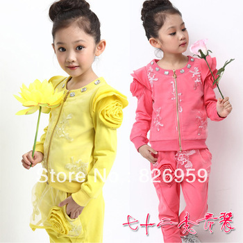 Children's clothing female child autumn 100% cotton set puff sleeve exquisite embroidery o-neck outerwear gentlewomen set