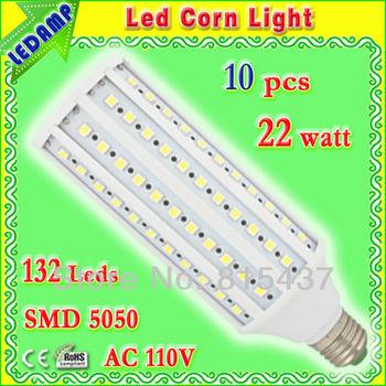 132 smd 5050 ultra bright led bulb 22w e27_110v ac corn light bulb lamp pure white 360 degree free shipping 10 pcs/lot