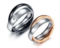Min.order 15usd,can mix model>Fashion Titanium Rings 316L cross stone simple engagement ring TI186