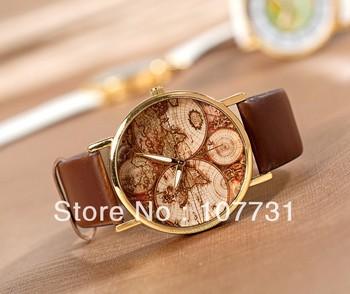 Min.order $10 (mix order) Free Shipping! 2013 New Fashion  Word Map Wristwatch Women Men Ladies Wholesale Unisex Quartz Watch