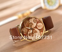 Min.order $10 (mix order) Free Shipping! 2013 New Fashion  Word Map Wristwatch Women Men Ladies Wholesale Unisex Quartz Watch