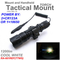RA-601REF[TTWS] 2*CR123A  Tactical Tail-wire switch CREE XML U2 COOL WHITE 5 mode mount  torch suite 1200LM Flashlight 18650