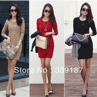Free Shipping 2014 Spring Autumn Women's Long-sleeve Dress Slim Hip Cotton Patchwork Elegant One-piece Dress S M L XL XXL XXXL