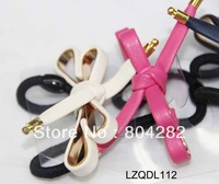 Free Shipping! 50pcs/box  multi-Colors packing PU Leather bow hair holder LZQDL112
