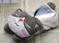 2013 New arrival Wholesale Hotselling Lovely cute cat Zipper type DCHK Plush cartoon case for samsung s4 9500  free shipping