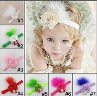 10pcs free shipping  Flowers feather baby headband girls' hairbands Christmas hair tie Headbands gift headwear