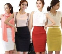Women's Ladies High Waist OL Office Knee Length Tight Slimming Skirt Elastic Slim Hip Skirt A-line Pencil Skirt for Xmas