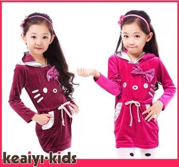 Newest girls hello kitty long sleeve dress korea style kids KT cat fashion dress children's Autumn dresses wholesale 4pcs/lot