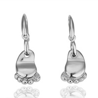 Platinum Plated Drop Earrings For Women 2013 Health Care Fashion Feet Jewelry With Rhinestone Crystal Freeshipping 18KGP E049