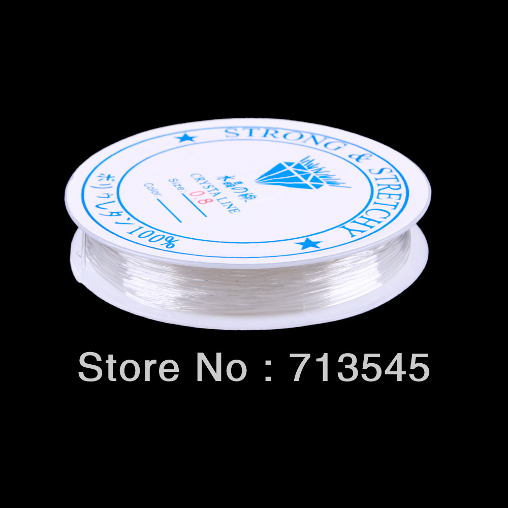 New Roll 0.8mm Clear Elastic Stretch Beading String Cord Wire Jewelry Making #40931(China (Mainland))