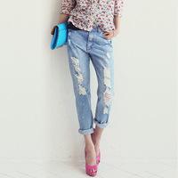 Ripped jeans female large size jeans Haren jeans paint spots pants baggy jeans women
