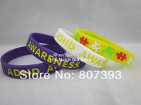 ADHD Awareness wristband, Silicon bracelet, 3 colours,100pcs/lot, free shipping
