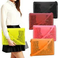 Women Eyelet Cutout Flap PU Leather Envelope Purse Handbag Clutch Shoulder Bag