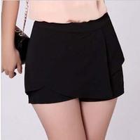 New Design Spring Summer Waistline Women Shorts Size S-3XL Irregular Asymmetric Tiered Black / Pink Lady Shorts