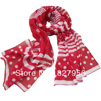 1 piece /lot Fashion Girls Red Colour  Polyester Scarves Size:50X172CM