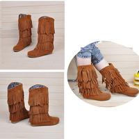 2014 Womens Fashion Flat Women Shoes Vivi Tassel High Boots Elevator 25pt All-match 3 Single Tassel Boots