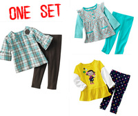 brand 2013 new cotton GOOD QUALITY kids clothes child blouse sport clothing sets for baby girl   short sleevet+ pants
