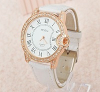 2013 New Fashion 8 Colors Ladies Leather Crystal Diamond Rhinestone Watches Women Dress Quartz Wristwatch Hours for women