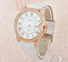 2014 8 cores nova moda senhoras couro cristal de diamante rhinestone relógios mulheres vestido horas quartzo relógio de pulso para mulheres(China (Mainland))