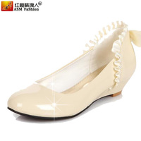 13 spring and autumn single shoes female patent leather laciness bow princess japanned leather wedges white medium hells shoes