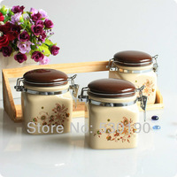 New 3pcs Ceramic Sweet Storage Jars Set Porcelain Moisture-proof Dessert Canister Set Home Supplies Food Storage Box Seal Box