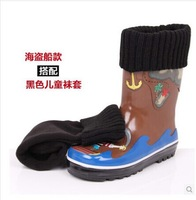 Free shipping Pirate kidorable child rubber rain boots rain shoes rainboots  leg warm boots SIZE 26 -34