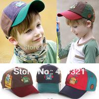 kids boy Robot face baseball caps children cartoon cotton brand hat baby boy 2014 autumn snapback sports cap 3 pieces wholesale