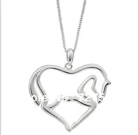 Hot Selling Free Shipping Charms Horse Silver Chain Necklace Fashion Women Jewelry Free Shipping
