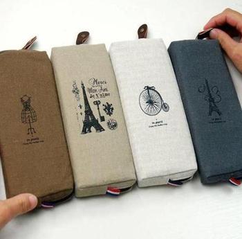 Free shipping Fashion Boutique Vintage Paris Eiffel Tower Linen Coin Purse Pencil Case Zipper Storage Pen Bag